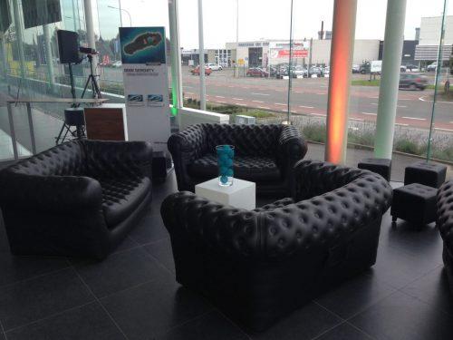 Canape gonflable noir - Chesterfield - mobilier en location