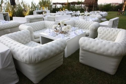 Canapes gonflables blanc - Chesterfield en location