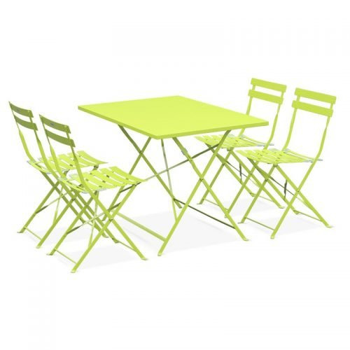 Location table bistrot rectangle vert pomme - mobilier de terrasse en location