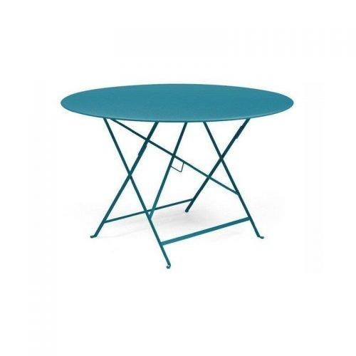 Location de table bistrot ronde turquoise - Mobilier de terrasse en location