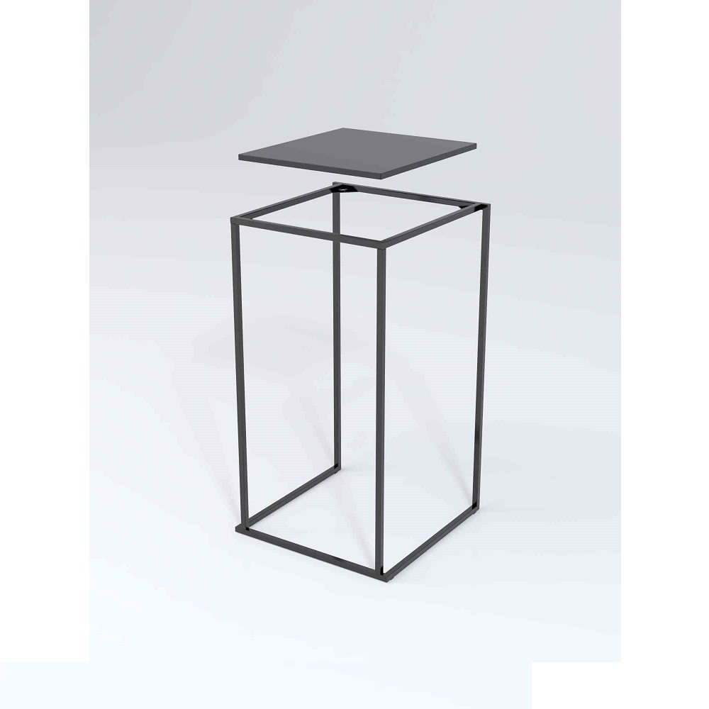 7dbd77e22e2c28 Location table mange debout Quadra noire 60 cm - ML Locations