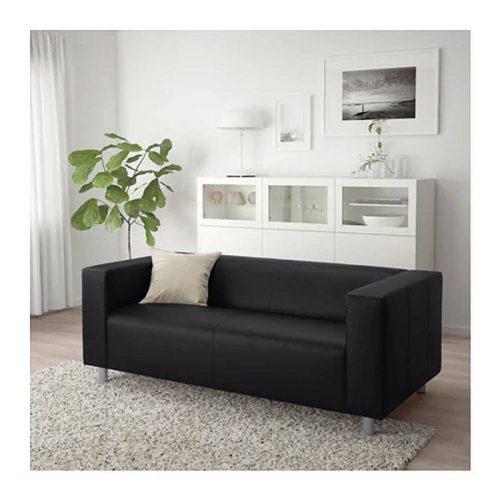Location fauteuil en cuir noir 2 places